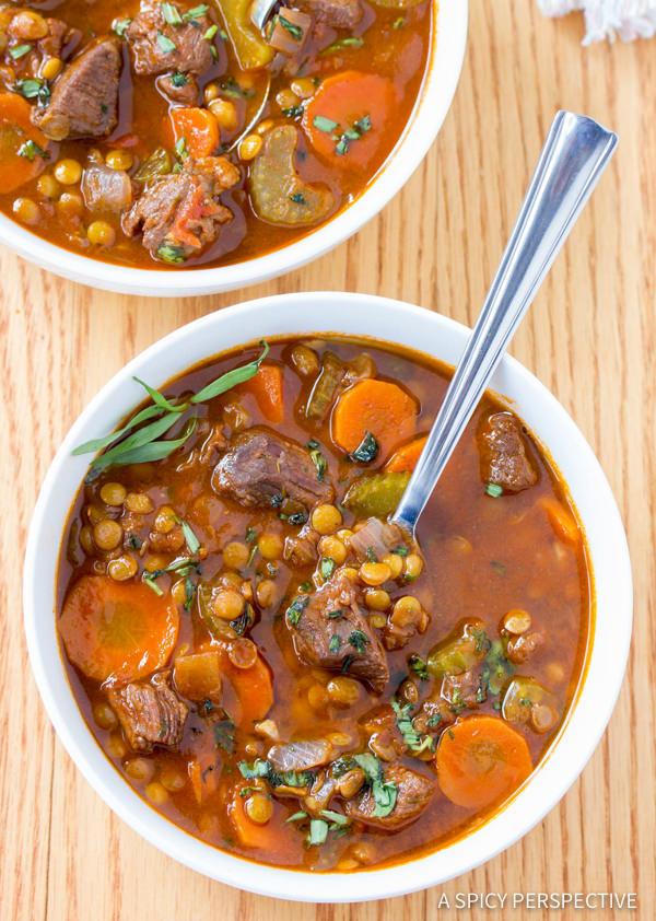 Best Beef and Lentil Stew Recipe | ASpicyPerspective.com #healthy