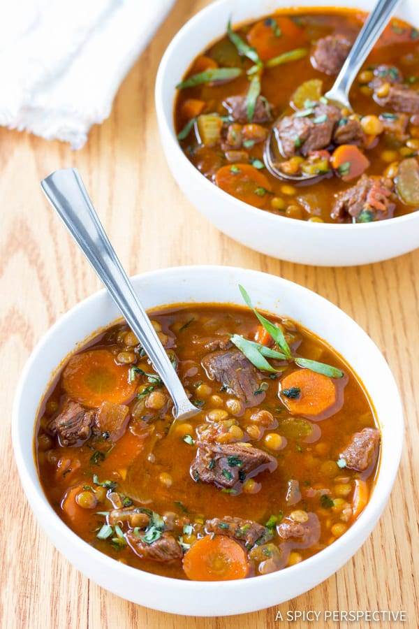 Fabulous Beef and Lentil Stew Recipe | ASpicyPerspective.com #healthy