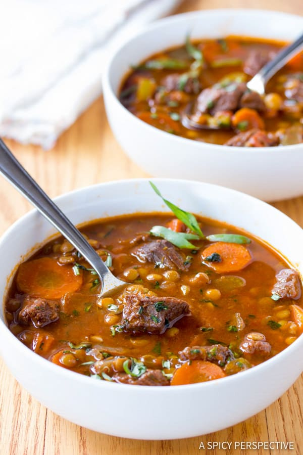 Perfect Beef and Lentil Stew Recipe | ASpicyPerspective.com #healthy