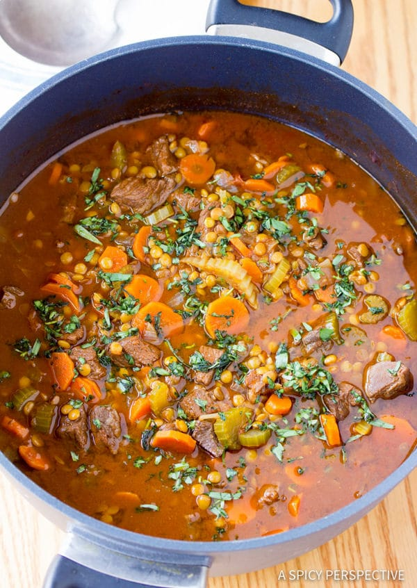 Zesty Beef and Lentil Stew Recipe | ASpicyPerspective.com #healthy