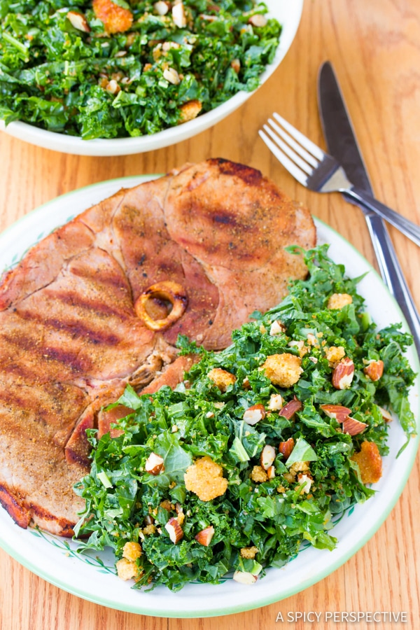 Simple Light Grilled Ham Steaks with Southern Kale Salad | ASpicyPerspective.com