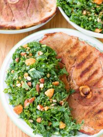 Light Grilled Ham Steaks with Southern Kale Salad | ASpicyPerspective.com