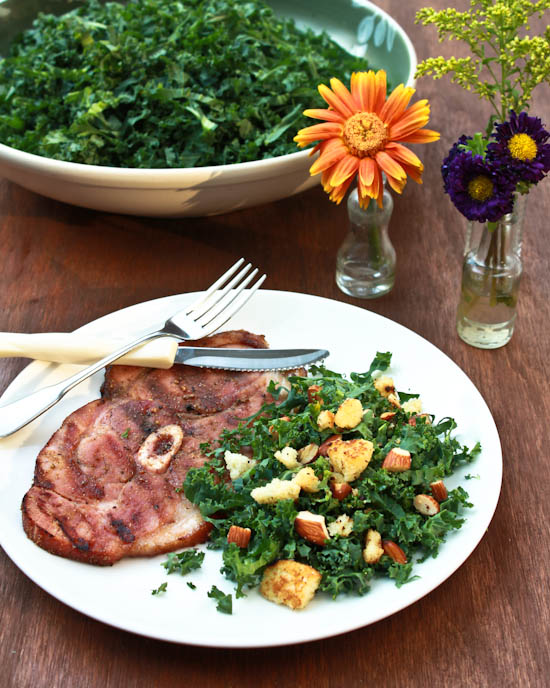 Spiced Grilled Ham Steaks with Southern Kale Salad