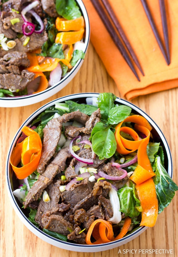 Vibrant Asian Beef and Bok Choy Salad ( Low Carb & Low Fat!)