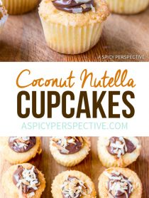 Mini Coconut Nutella Cupcakes Recipe | ASpicyPerspective.com