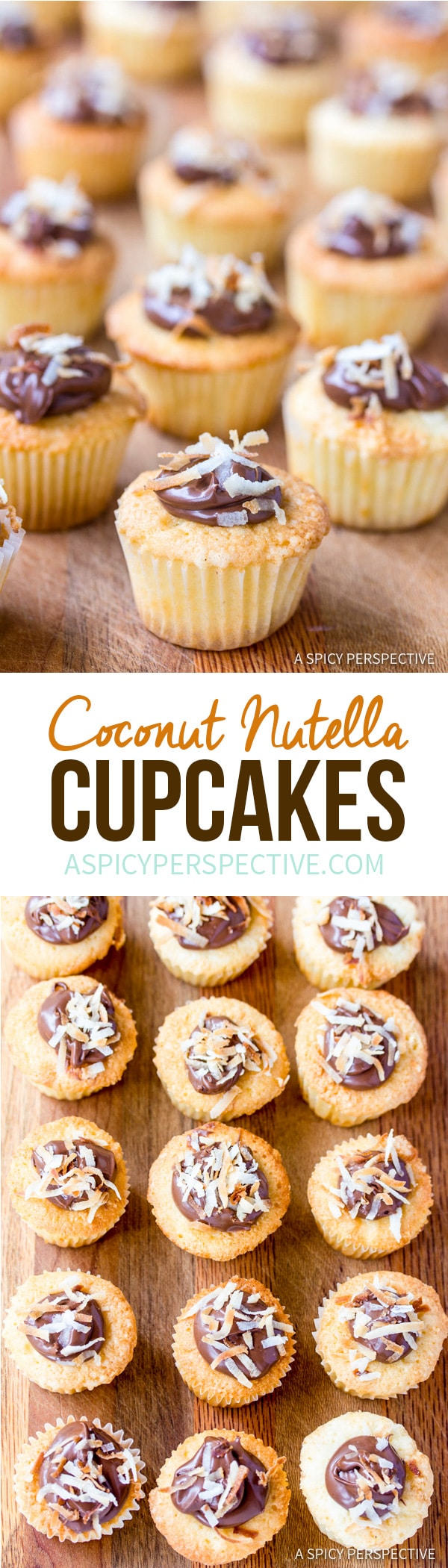Mini Coconut Nutella Cupcakes Recipe | ASpicyPerspective.com