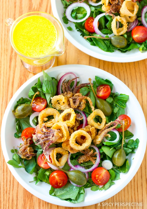 Crispy Fried Calamari Salad with Caperberries and Lemon Aioli Recipe
