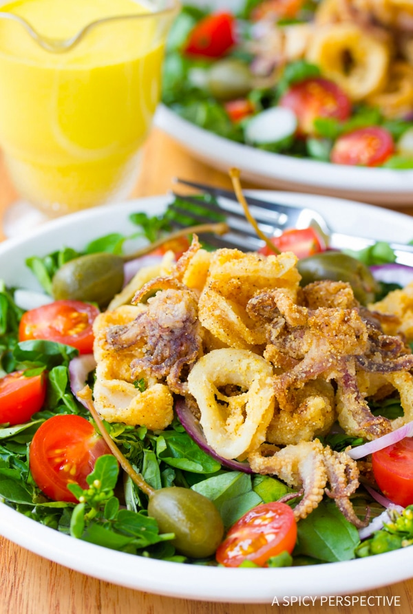 Best Fried Calamari Salad with Caperberries and Lemon Aioli Recipe