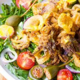 Fried Calamari Salad with Caperberries and Lemon Aioli