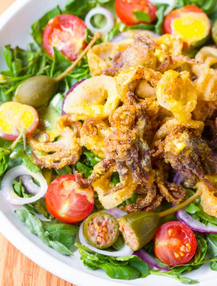 Fried Calamari Salad with Caperberries and Lemon Aioli