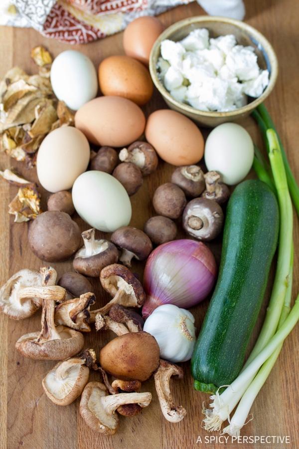 Making Wild Mushroom and Goat Cheese Frittata Recipe