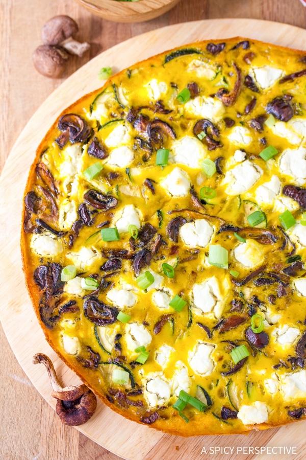 Heavenly Wild Mushroom and Goat Cheese Frittata Recipe