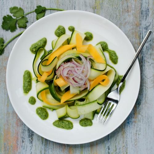 Zucchini and Green Chutney Salad