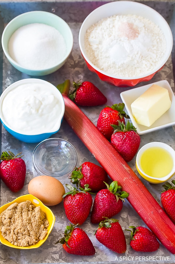 Making Strawberry Rhubarb Yogurt Muffins Recipe