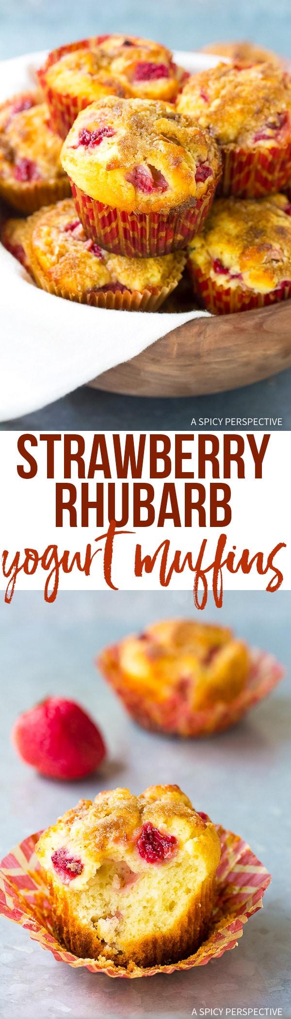 The Best Strawberry Rhubarb Yogurt Muffins Recipe