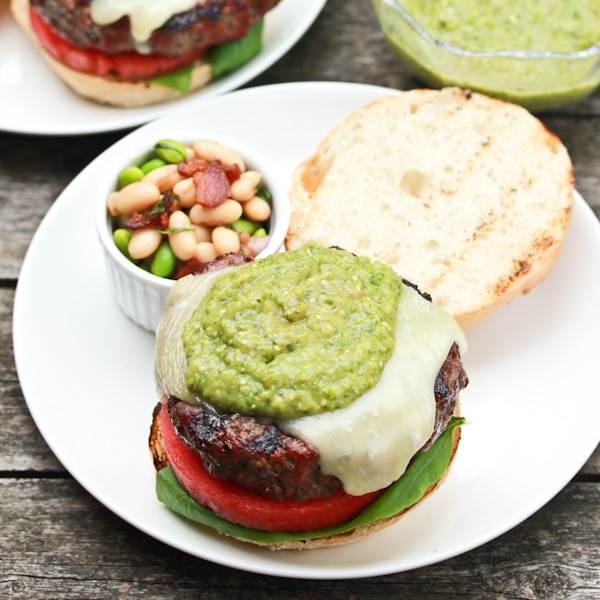 Salsa Verde Burger with Fontina Watermelon and Basil