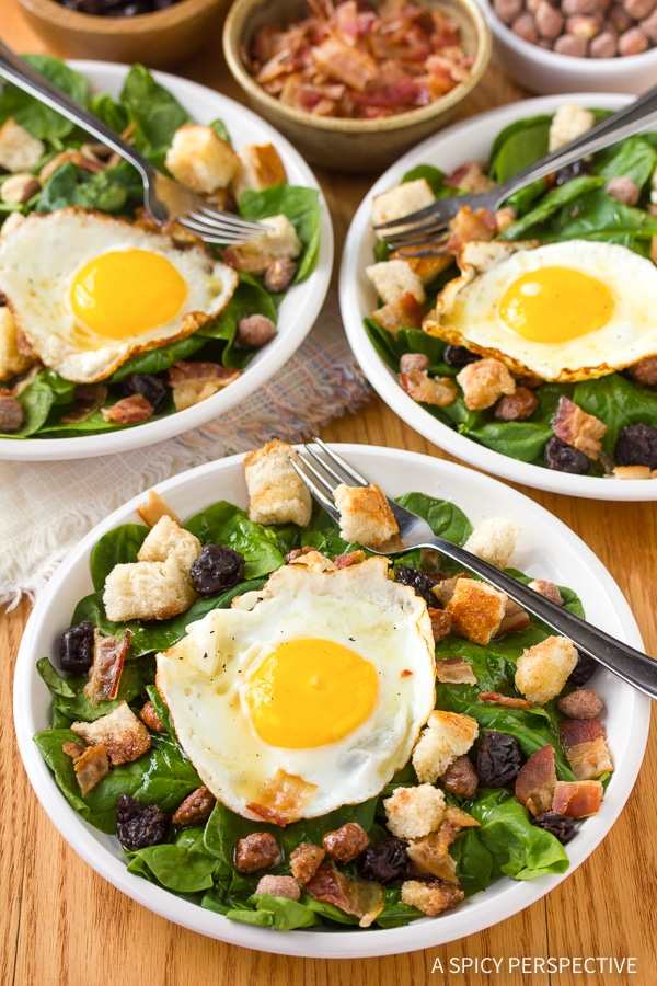 Perfect Breakfast Salad with Cinnamon Toast Croutons and Maple Vinaigrette
