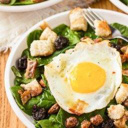 The Breakfast Salad with Cinnamon Toast Croutons and Maple Vinaigrette