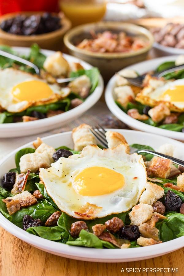Best Breakfast Salad with Cinnamon Toast Croutons and Maple Vinaigrette