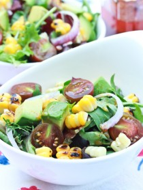 Grilled Corn Avocado Salad with Smokey Paprika Vinaigrette