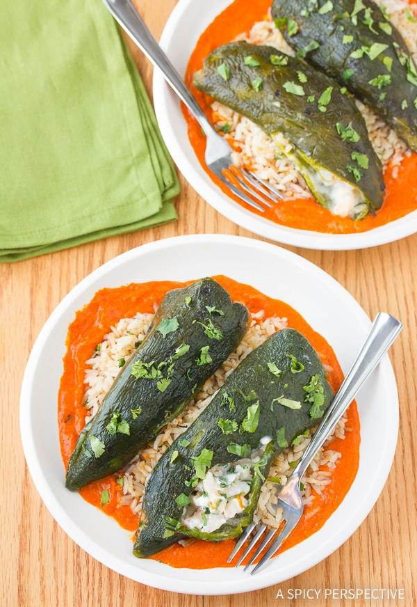 Best Stuffed Poblano Peppers with Red Pepper Puree Recipe