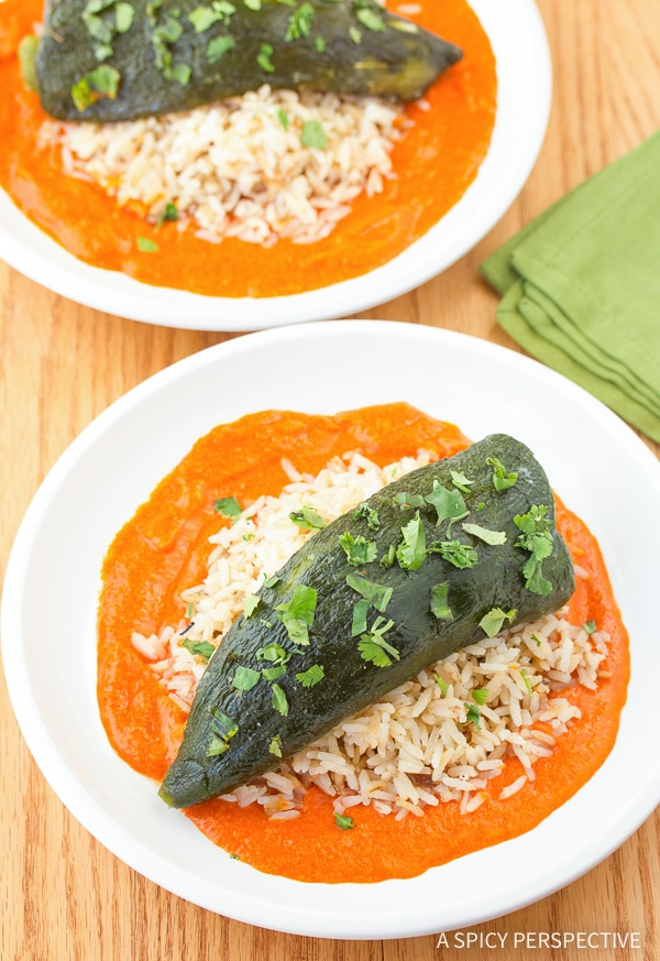 Perfect Stuffed Poblano Peppers with Red Pepper Puree Recipe