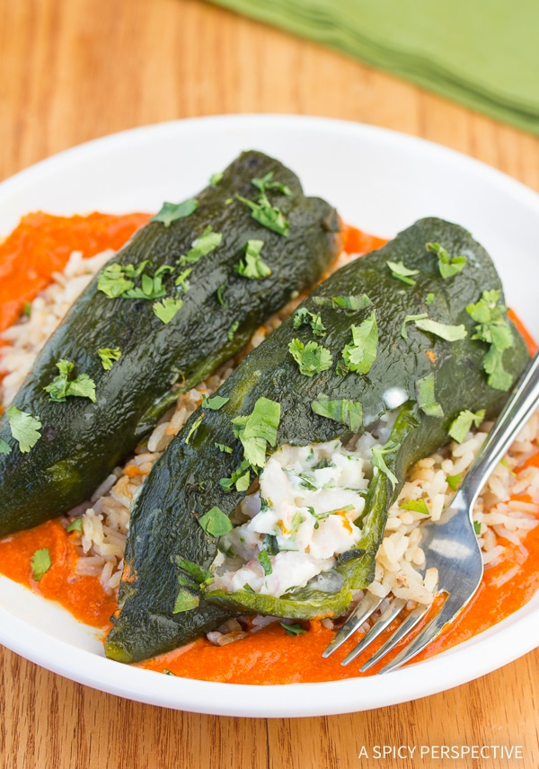 Stuffed Poblano Peppers with Red Pepper Puree Recipe