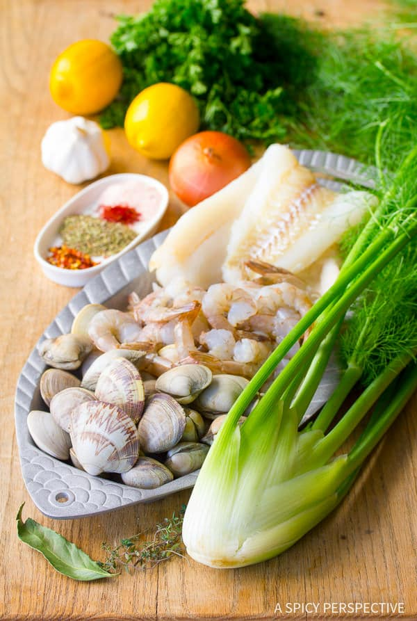 Making Seafood Cioppino Recipe | ASpicyPerspective.com