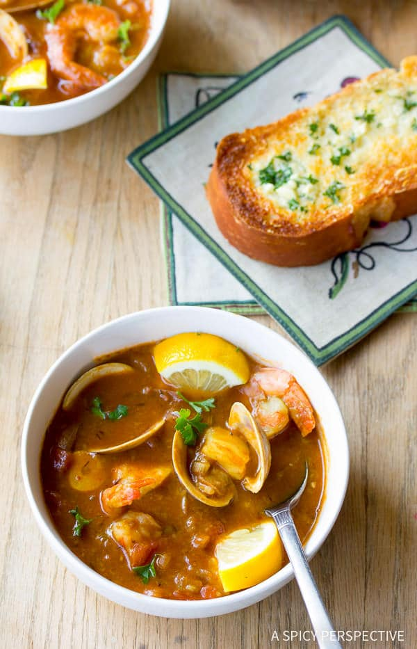 Steamy Seafood Cioppino Recipe | ASpicyPerspective.com