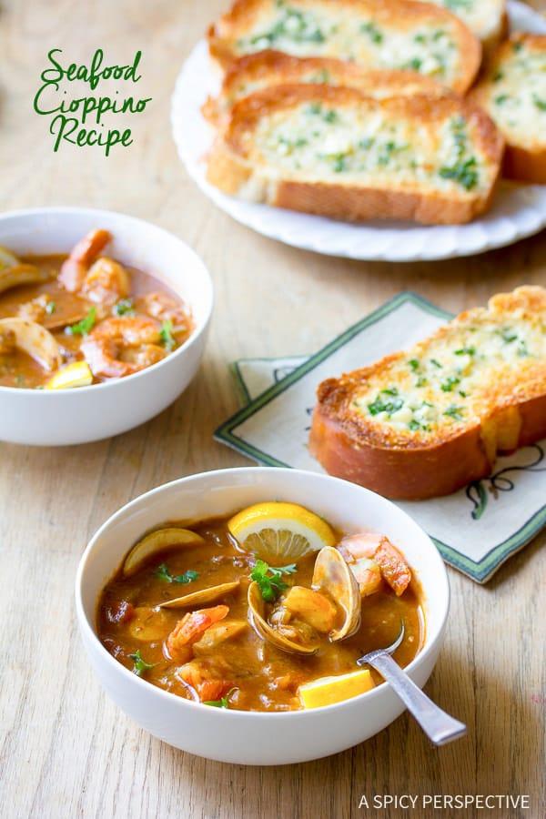 Stunning Seafood Cioppino Recipe | ASpicyPerspective.com