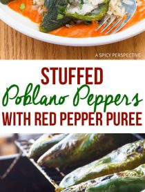 Chile Relleno! Stuffed Poblano Peppers with Red Pepper Puree Recipe