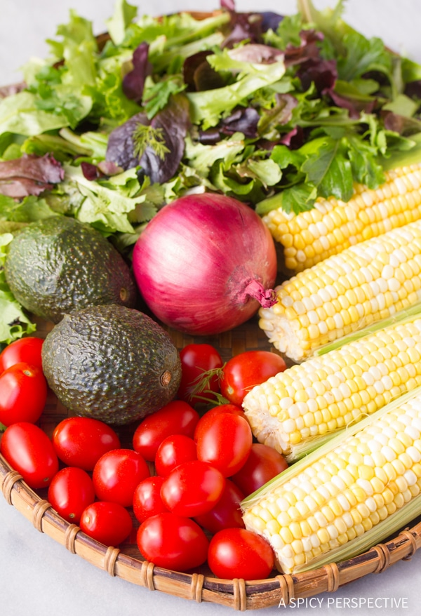 Making Grilled Corn Salad with Smokey Vinaigrette Recipe
