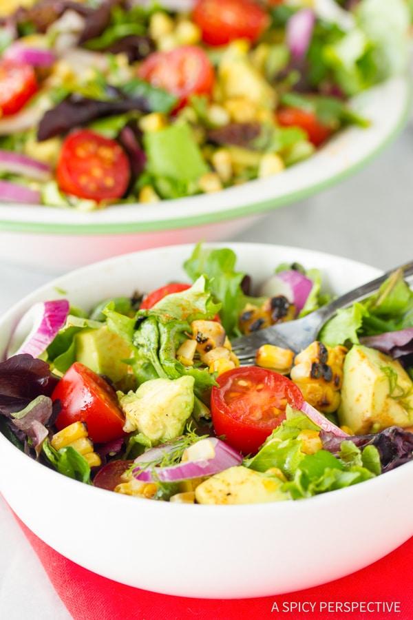 Crunchy Grilled Corn Salad with Smokey Vinaigrette Recipe