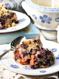 Old Fashioned Blueberry Pudding with Rosewater Sauce