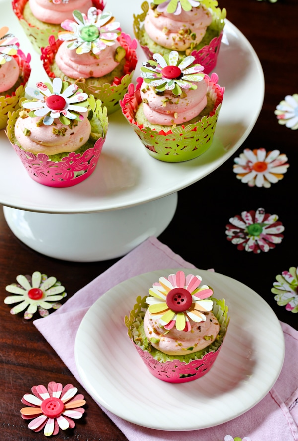 Pistachio Cupcakes with Pink Champagne Frosting - A Spicy Perspective