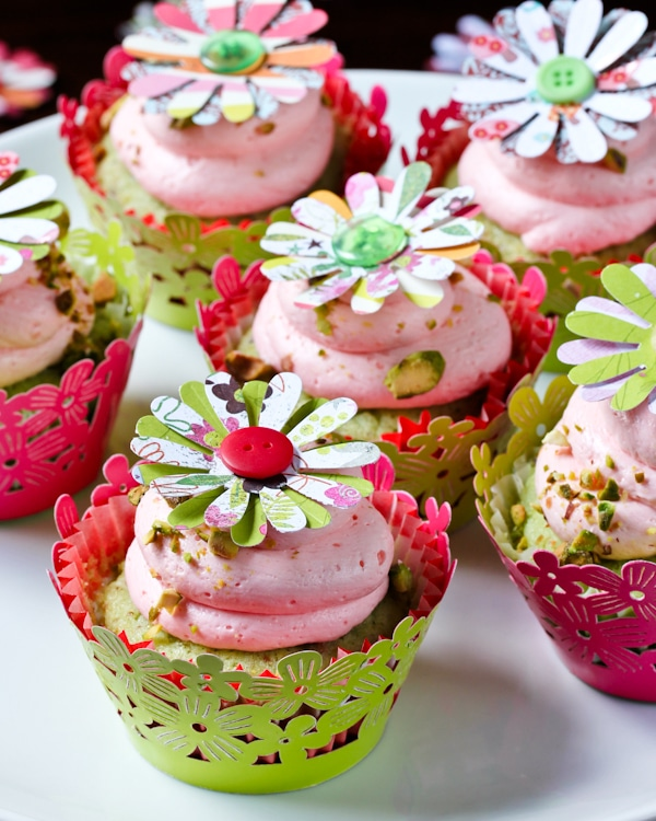 Pistachio Cupcakes with Pink Champagne Frosting - A Spicy ...
