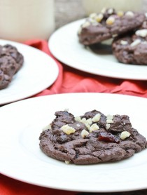 Double Chocolate Cookies with Ginger and Cherries