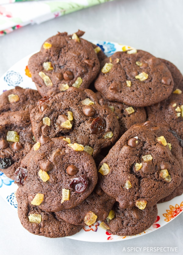 Fabulous Double Chocolate Cookies with Ginger and Cherries