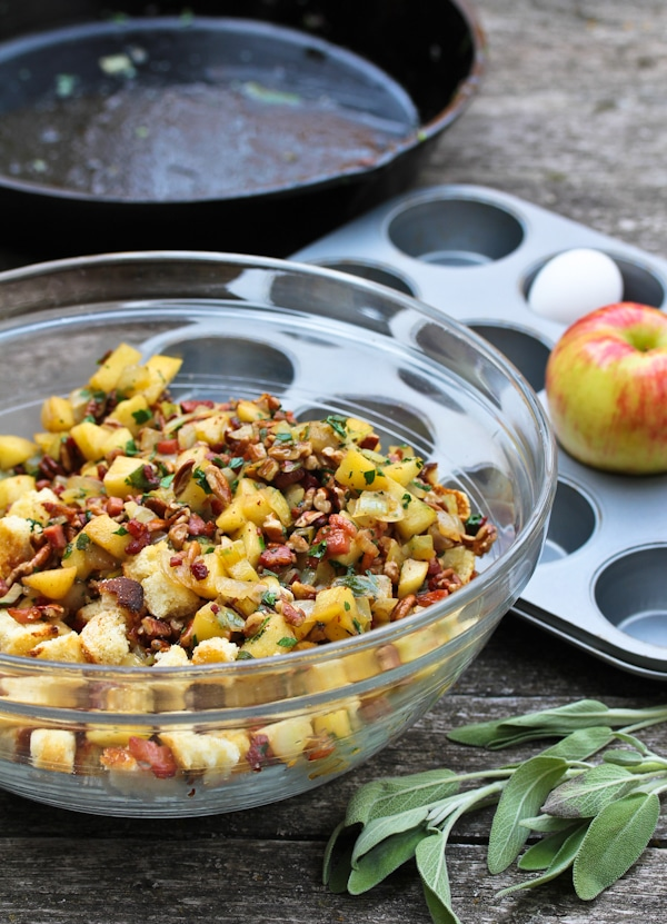 Cornbread Stuffing Muffins with Apple and Pancetta - A Spicy ...