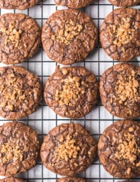 Brownie Cookies with Toffee Bits Recipe #ASpicyPerspective #brownies #cookies #toffee #holiday #cookieexchange