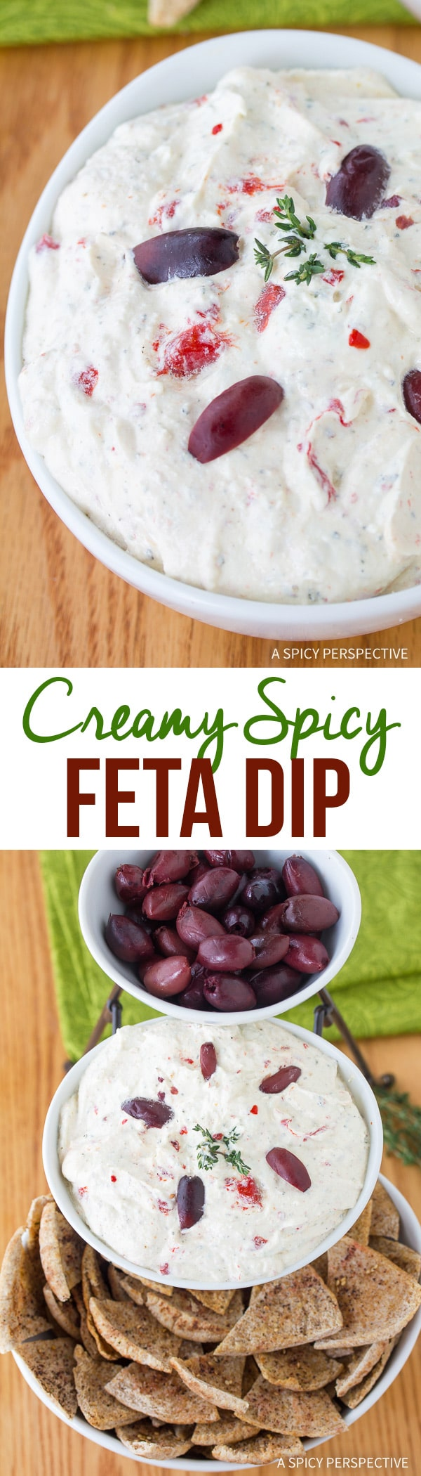 Spicy Feta Dip with Roasted Red Peppers Recipe - This robust savory cheese dip is rich and satisfying. Loaded with a roasted red peppers, garlic, and herbs, it's completely addictive!