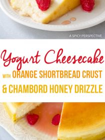 Amazing Yogurt Cheesecake with Orange Shortbread Crust and Chambord Honey Drizzle Recipe