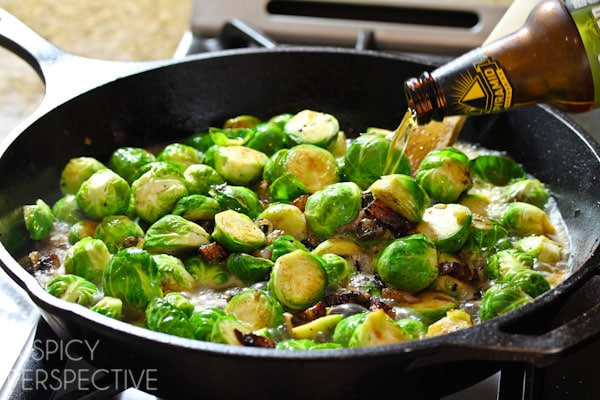 The Best Brussel Sprouts with Bacon and Beer! #brusselssprouts