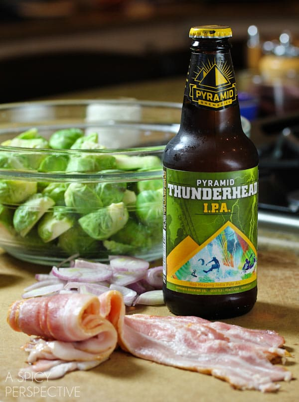 How to Make Brussel Sprouts with Bacon and Beer! #brusselssprouts