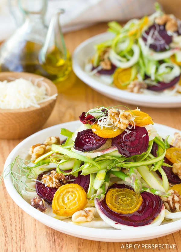 Simple Fennel Salad with Roasted Beets and Shaved Asparagus Recipe