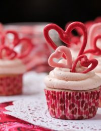 Buttermilk Cupcakes with Creamy Cherry Frosting and Chocolate Hearts