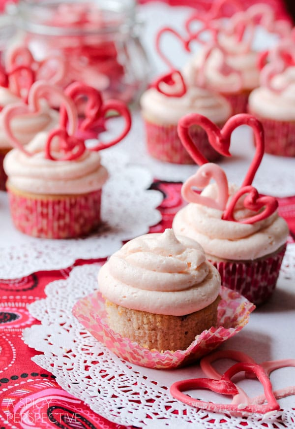 Buttermilk Cupcakes with Creamy Cherry Frosting and Easy Chocolate Hearts