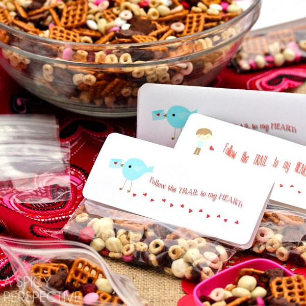 Easy Homemade Trail Mix - Valentine Snack + Printable Tags!