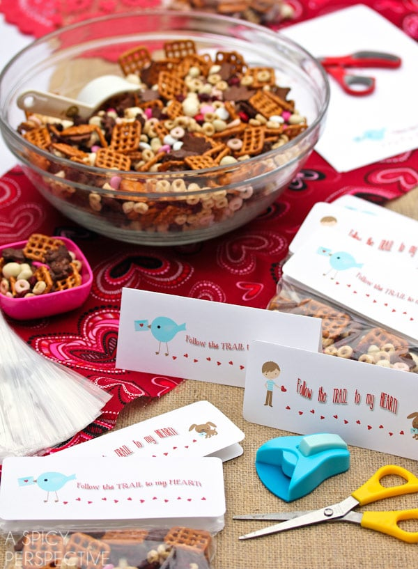 Simple Homemade Trail Mix - Valentine Snack + Printable Tags!