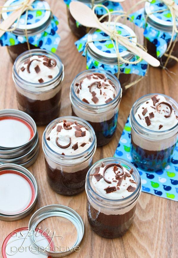 Chocolate Malt Brownie Parfait in a Jar